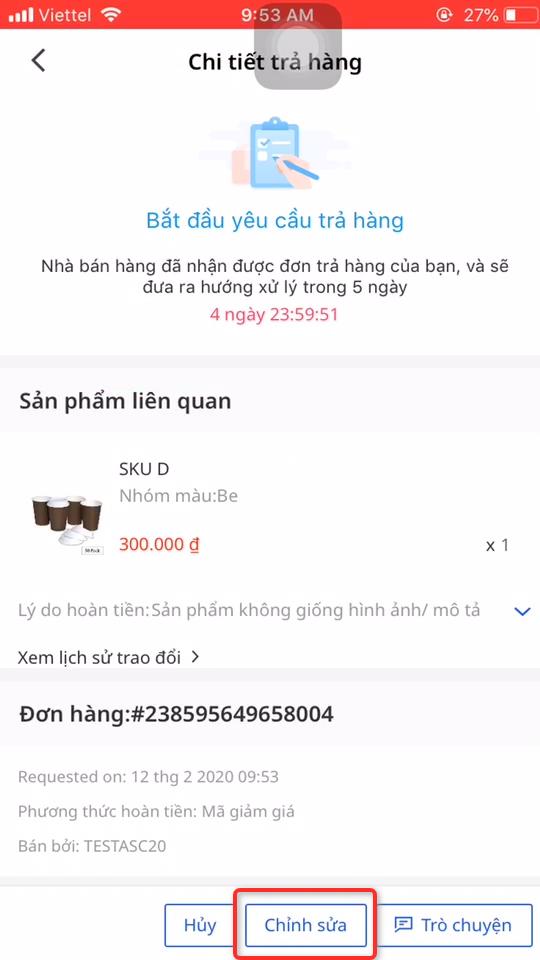 Làm sao để tôi có thể điều chỉnh được số tiền hoàn sau khi đã thương lượng với Nhà bán hàng? 1